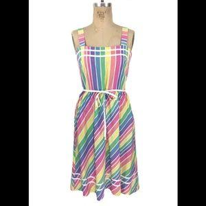 Vintage Pastel Rainbow Striped Dress